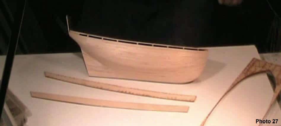 Bulwarks on a model ship